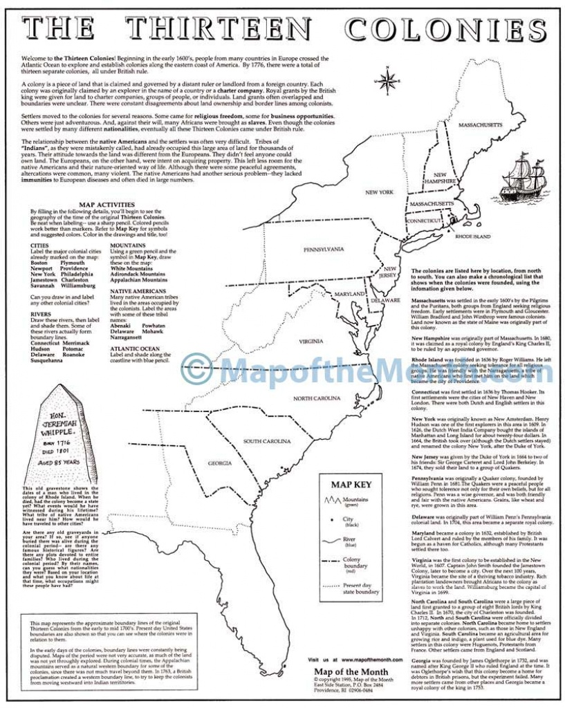 Printable Map Of The 13 Colonies With Names   Free ...