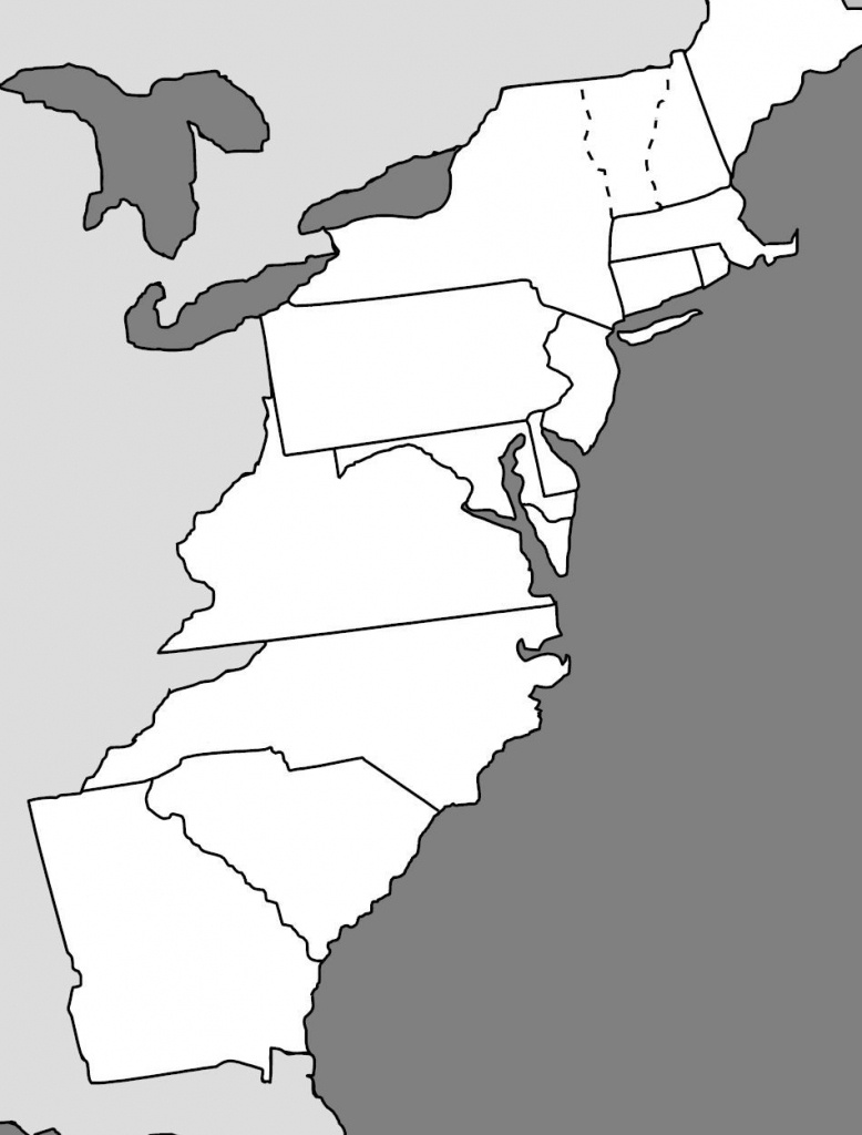 13 Colonies Map | Cc Cycle 3 - Geography | 13 Colonies, Map Quiz - Outline Map 13 Colonies Printable