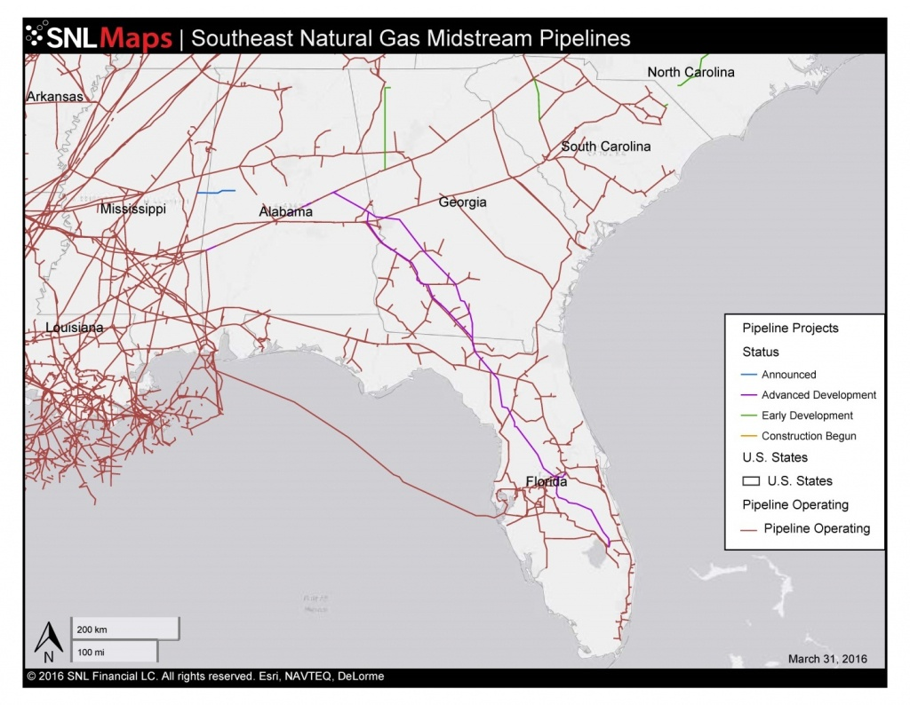 1448×1123 Map Of Southeast Mid-Stream Natural Gas Pipelines, In - Florida Natural Gas Map