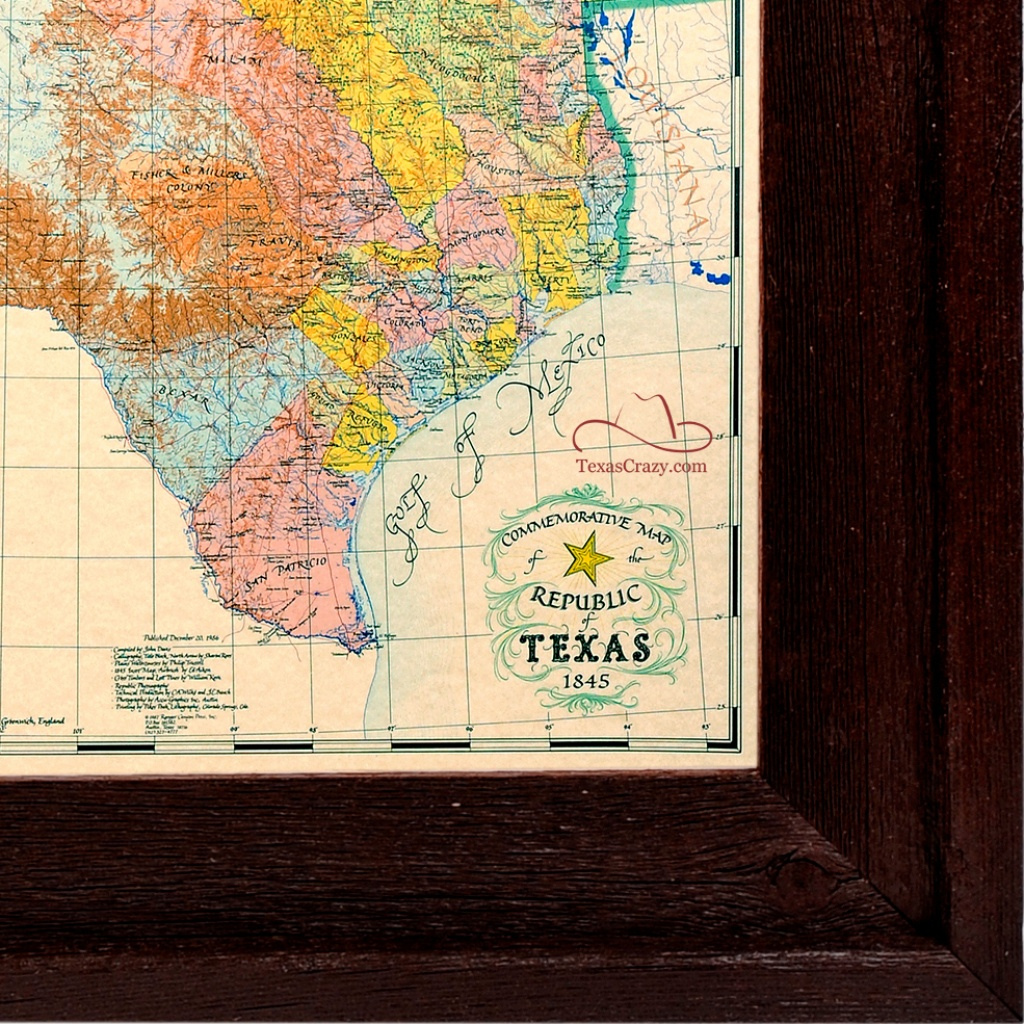 1845 Republic Of Texas Map Framed Art - Texas Map Framed Art