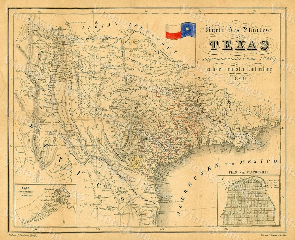 1849 Map Of Texas Old Texas Map, Texas, Map Of Texas, Vintage - Vintage Texas Map