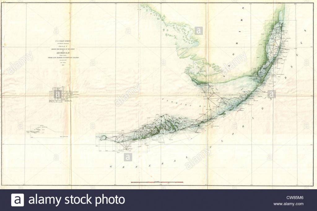 1859 Ee.uu. Encuesta De La Costa Mapa De Triangulación De Los Cayos - Los Cayos Florida Map