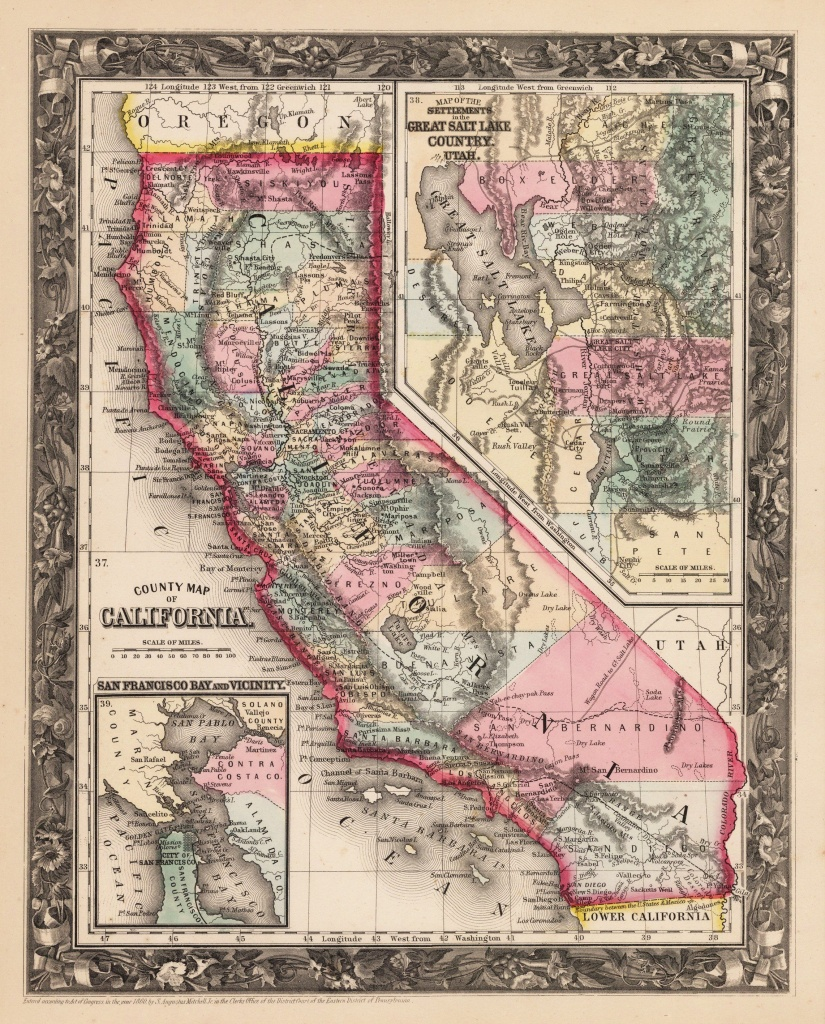 1860 County Map Of California | Products | California Map, County - Antique Map Of California