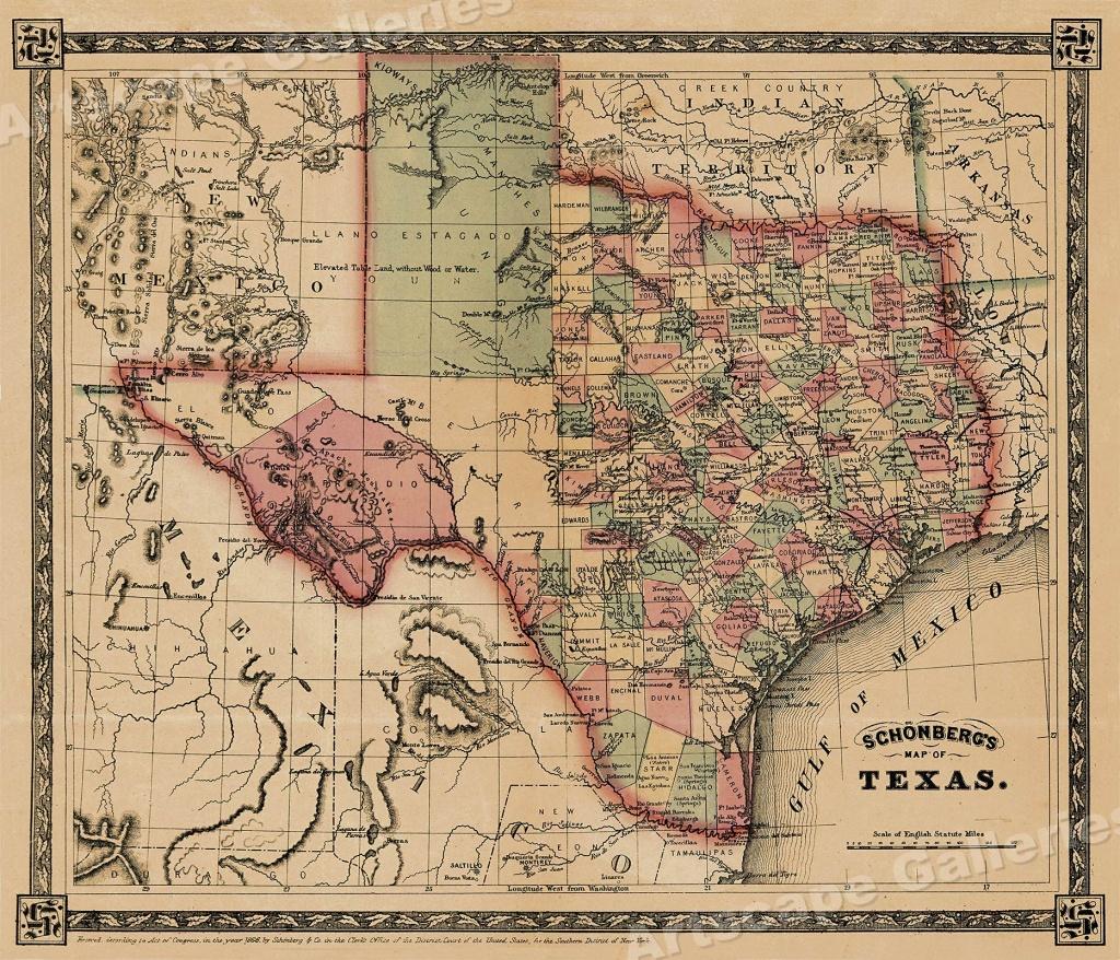 1866 Schönberg's Early Map Of Texas Historic Map 24X28 | Ebay - Texas Historical Maps