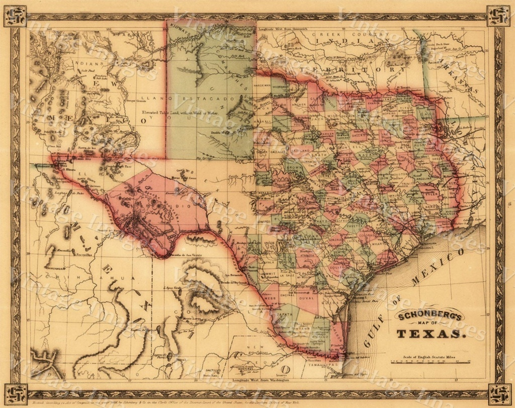 1866 Texas Map Old West Map Antique Texas Map Restoration - Old Texas Maps For Sale