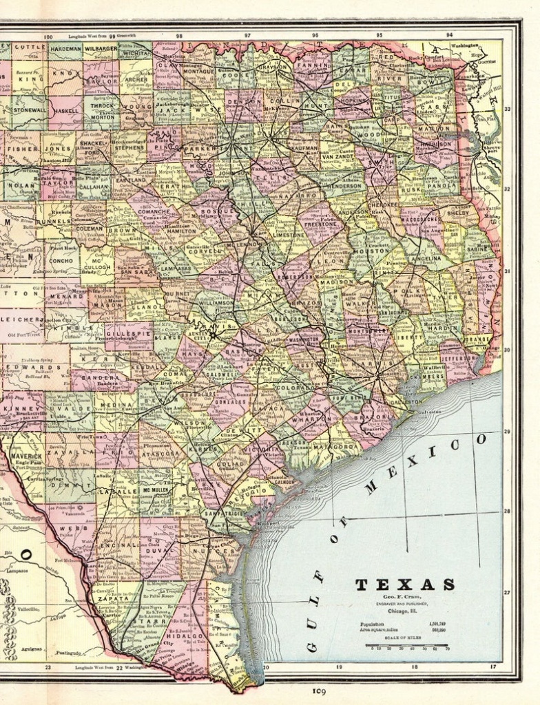 1888 Antique Texas Map Vintage State Map Of Texas Gallery Wall   Etsy - Vintage Texas Map