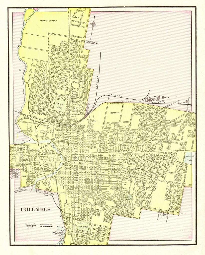 1901 Antique Columbus City Map Reproduction Print Of Columbus Ohio - Printable Map Of Columbus Ohio