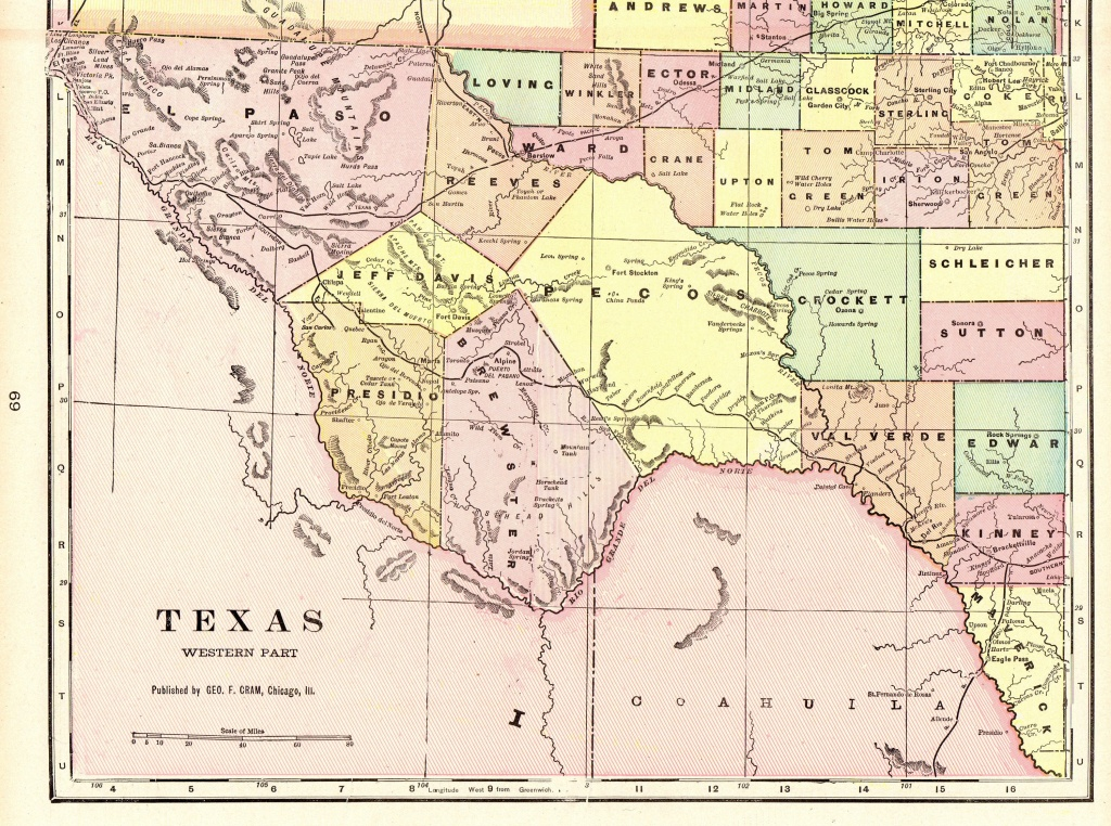 1901 Vintage Texas Map Of Western Texas Antique Map Travel | Etsy - Travel Texas Map