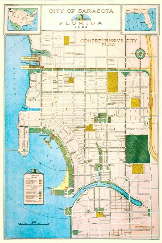 1924 Map Of Sarasota Florida | Etsy - Show Sarasota Florida On A Map