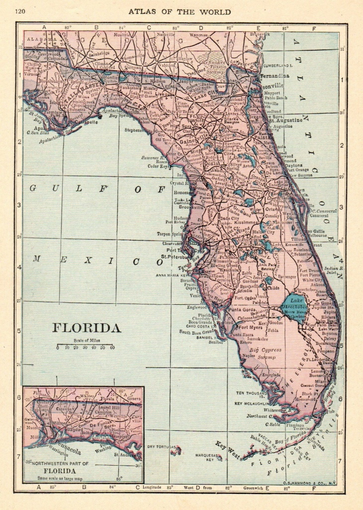 1926 Antique Florida Map Vintage Map Of Florida State Map Gallery - Map Of Florida Wall Art