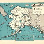 1930's Vintage Alaska State Map Of Alaska Picture Cartoon Map Print   Alaska State Map Printable