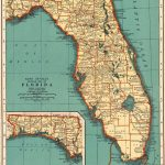 1937 Antique Florida Map Vintage State Map Of Florida Gallery Wall   Florida Map Wall Art