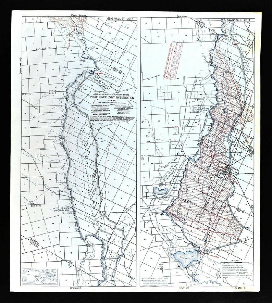 1940 Pecos River Texas Map - Water Table Depths & Wells - Grand - Pecos Texas Map