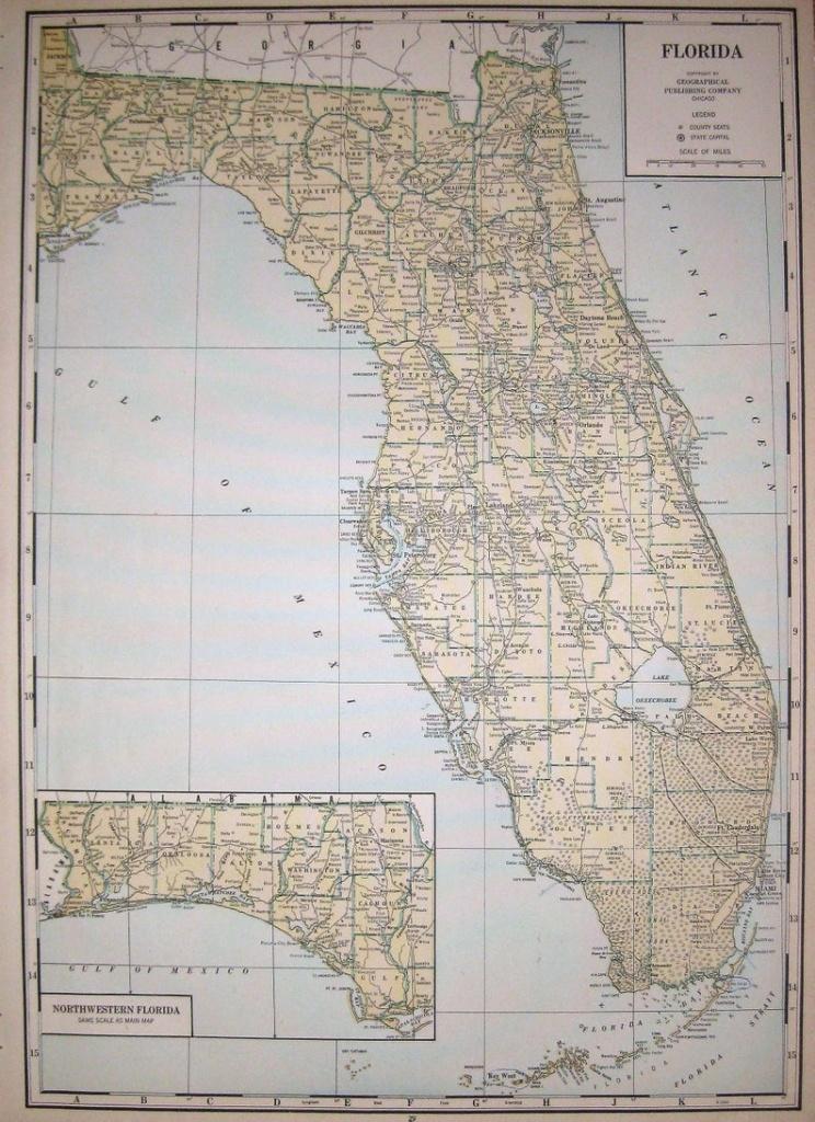1944 Rare Size Antique Florida State Map Vintage Map Of | Etsy - Vintage Florida Map Poster
