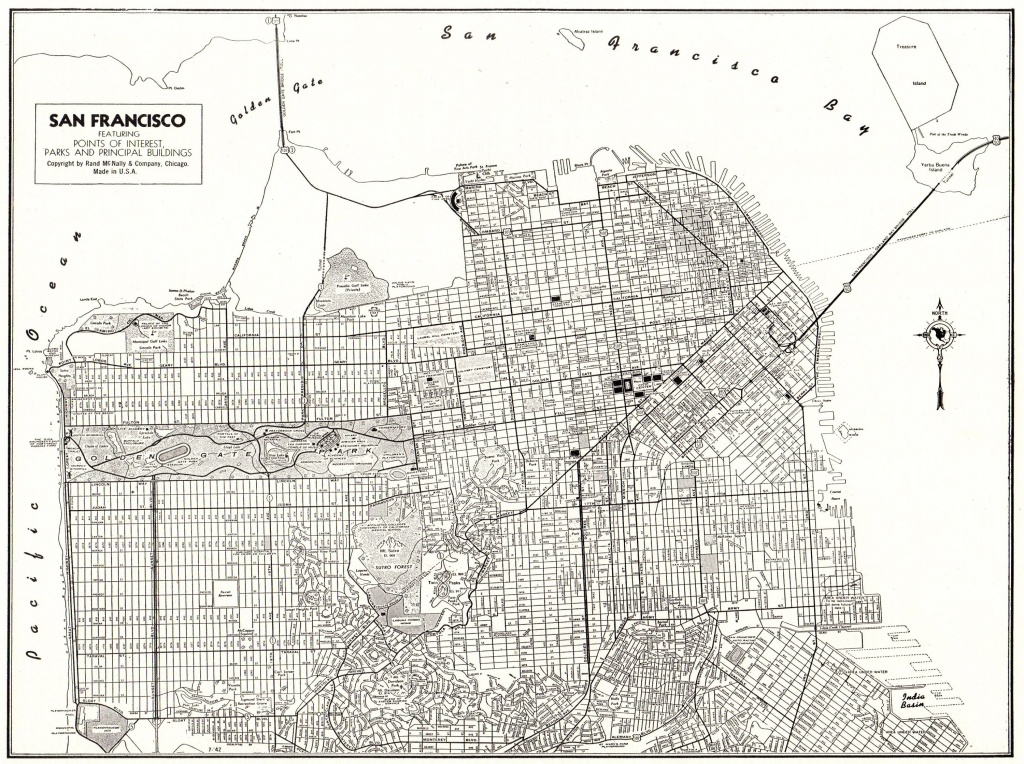 1947 Antique Map Of San Francisco Map Vintage Black And White | Etsy - California Map Black And White