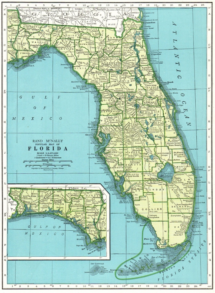 1947 Vintage Florida Map Antique State Map Of Florida Print Gallery - Map Of Florida Wall Art