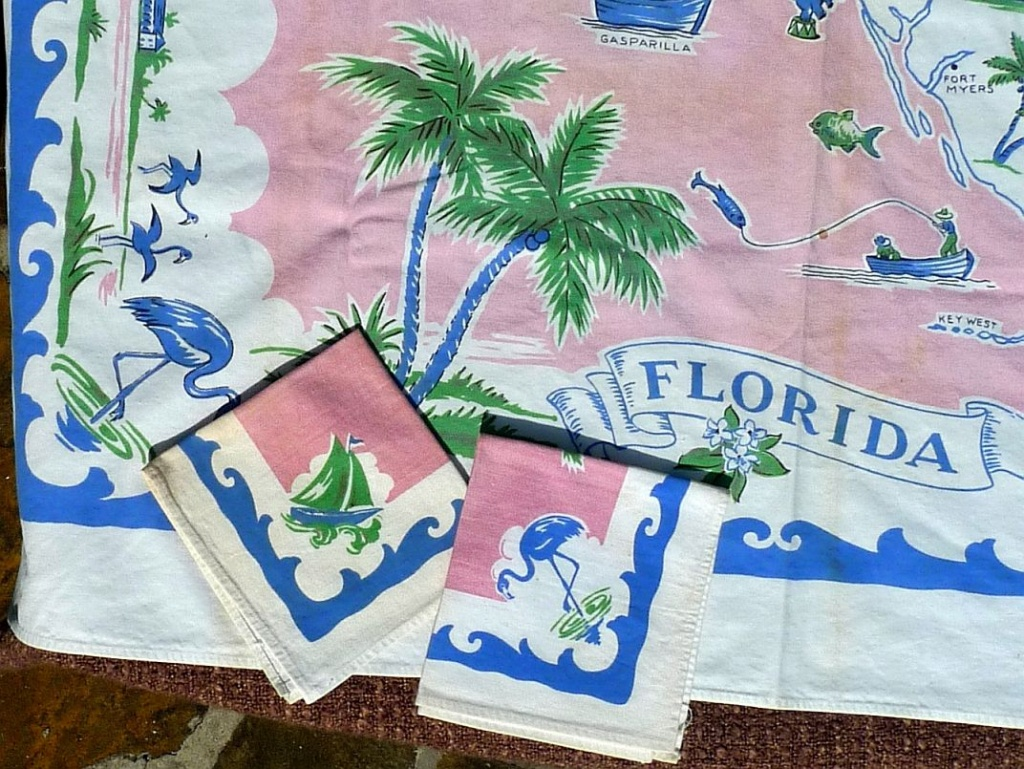 1950S Tablecloths | 1950S Linens: Printed Florida Map Tablecloth And - Vintage Florida Map Tablecloth