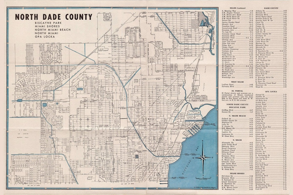 1952 Map Of North Dade County Florida | Etsy - Map Of Dade County Florida