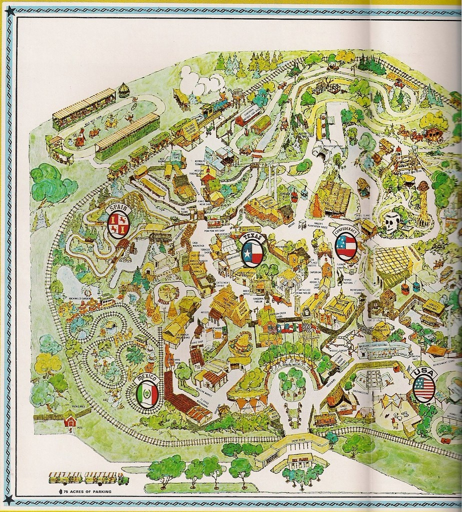 1966 Six Flags Over Texas Map   Yarbrough   Flickr - Six Flags Over Texas Map