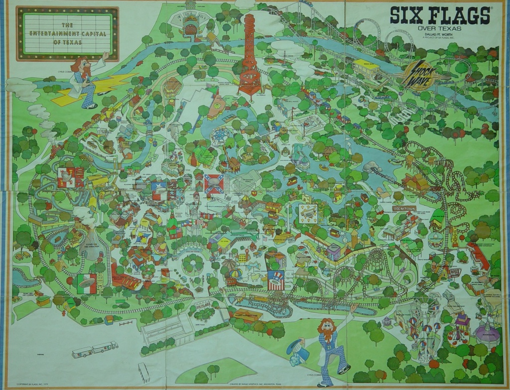 1970S Six Flags Over Texas Map. This Is How The Park Looked When I - Six Flags Over Texas Map App
