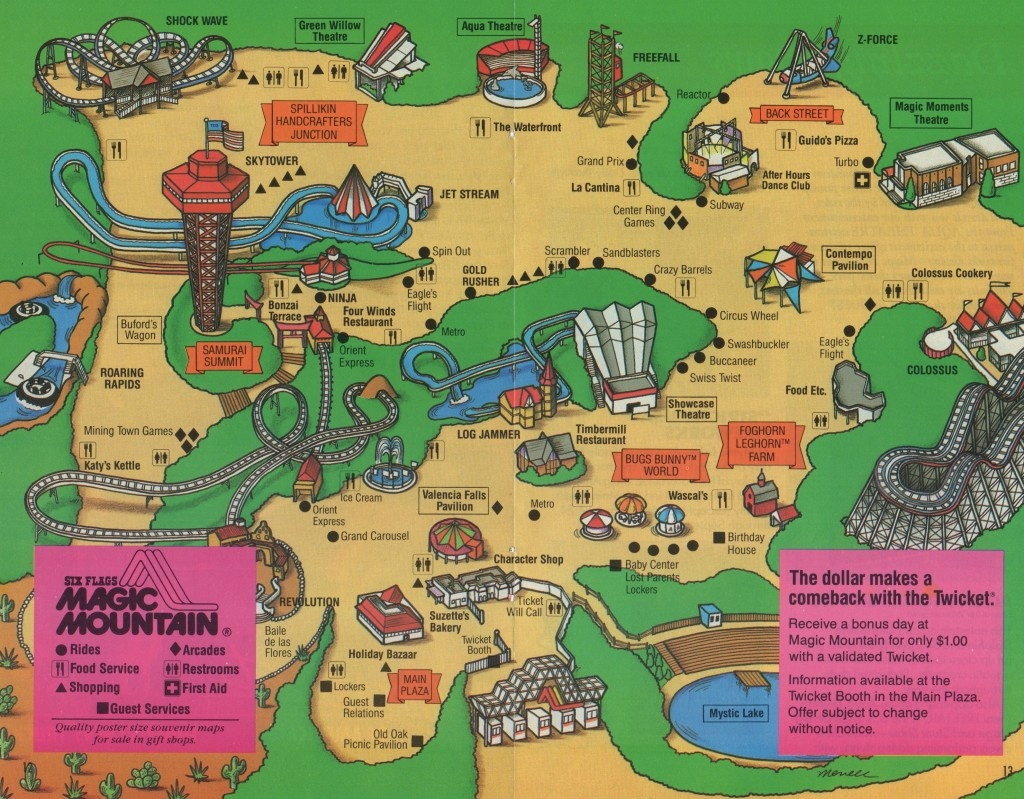1988 Six Flags Magic Mountain Map & Guide – The Coaster Guy - Six Flags Map California 2018