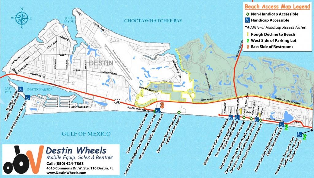 30A & Destin Beach Access - Destin Wheels Rentals In Destin, Fl - Destin Florida Location On Map