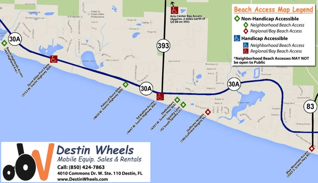 30A & Destin Beach Access - Destin Wheels Rentals In Destin, Fl - Florida Public Beaches Map