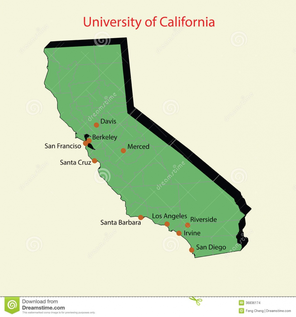 3D Map Of University Of California Campuses Stock Illustration - Where Is Santa Cruz California On The Map
