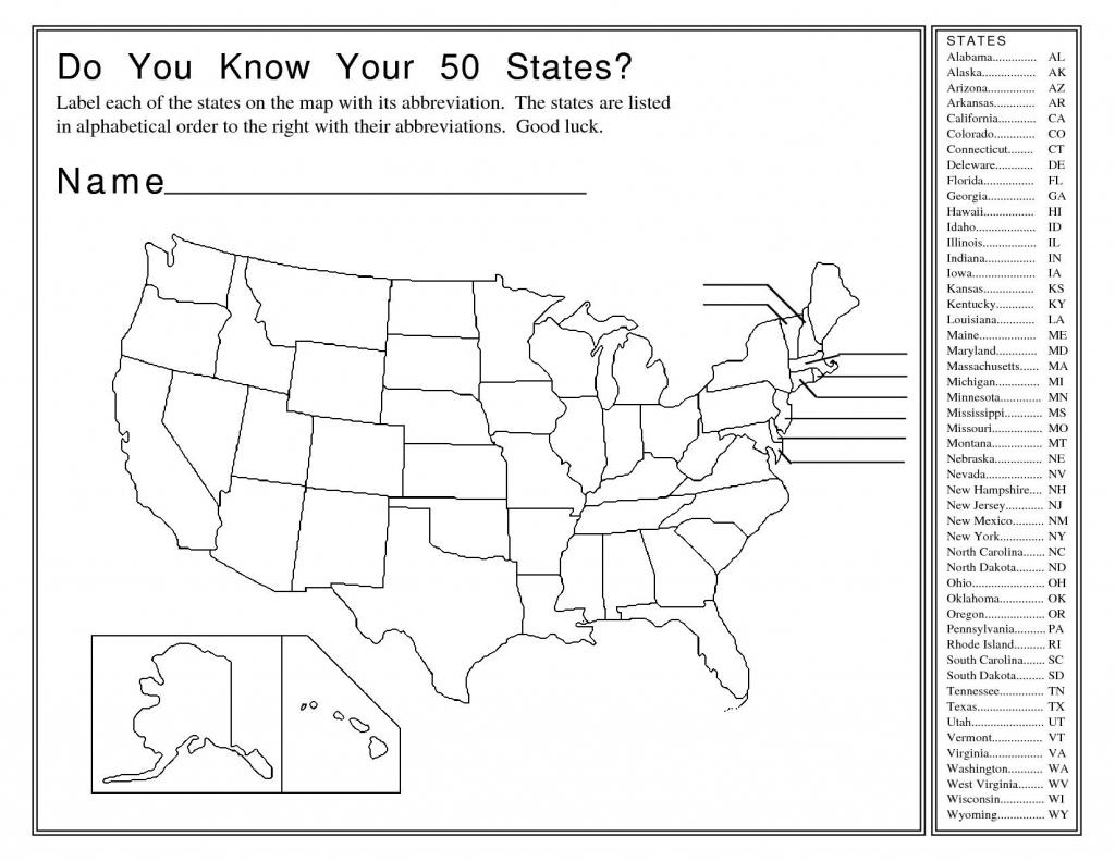 50 States Map Quiz Printable | 4Th Grade Throughout 50 States And - 50 States And Capitals Map Printable