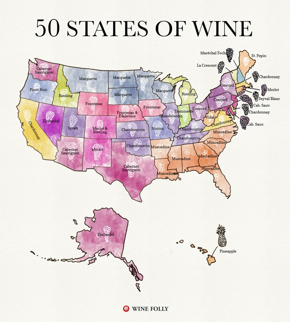 50 States Of Wine (Map) | Wine Folly - Texas Wine Trail Map