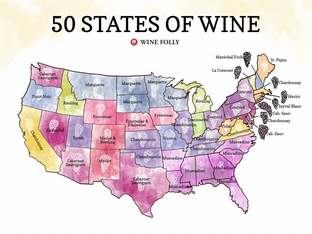 50 States Of Wine (Map)   Wine Folly - Texas Winery Map