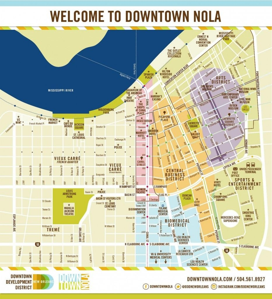 A Downloadable Map Of Downtown New Orleans; Conference Hotel Is - Printable Walking Map Of New Orleans