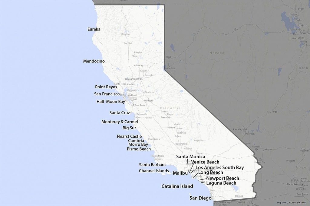 A Guide To California's Coast - Map Of Southern California Beaches