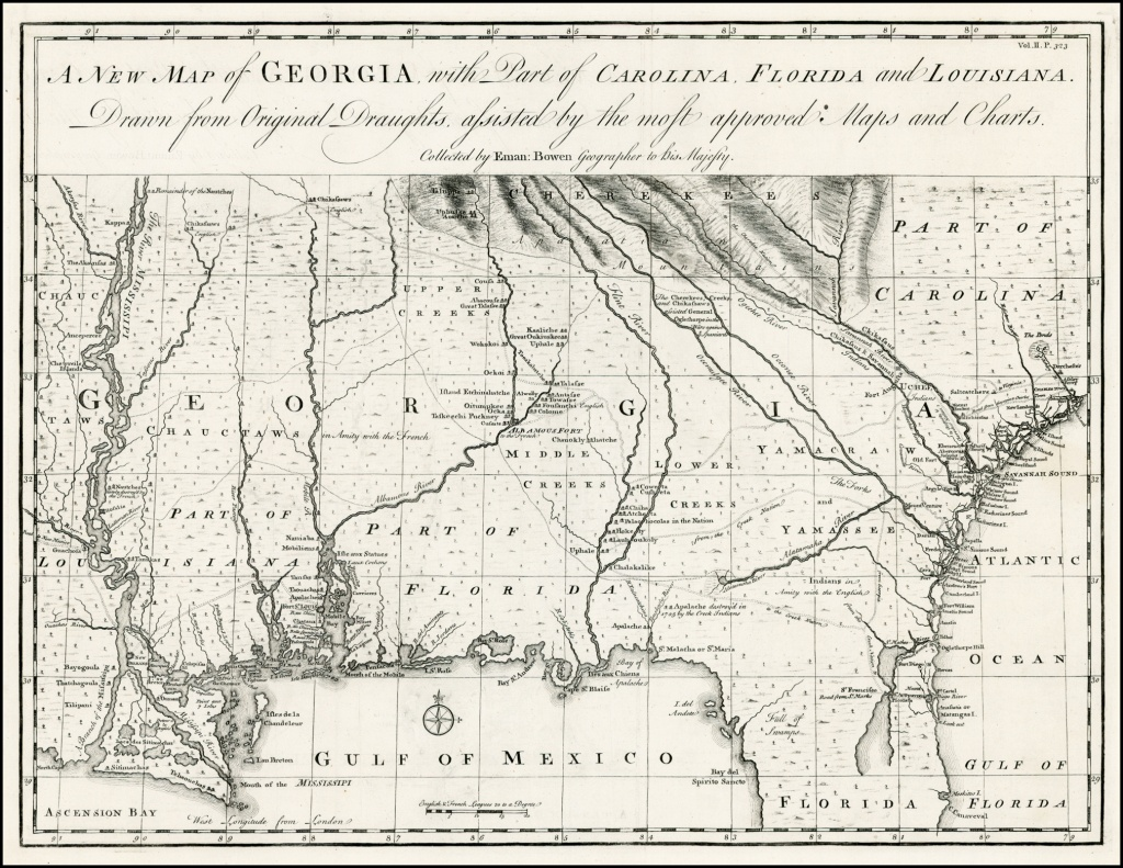 A New Map Of Georgia, With Part Of Carolina, Florida And Louisiana - Florida Louisiana Map