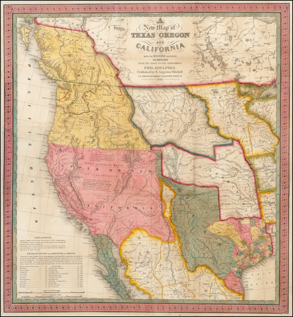 A New Map Of Texas, Oregon And California With The Regions Adjoining - California Territory Map