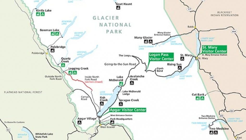 A Quick Overview Map Of Glacier National Park - My Yellowstone Park - Printable Map Of Glacier National Park
