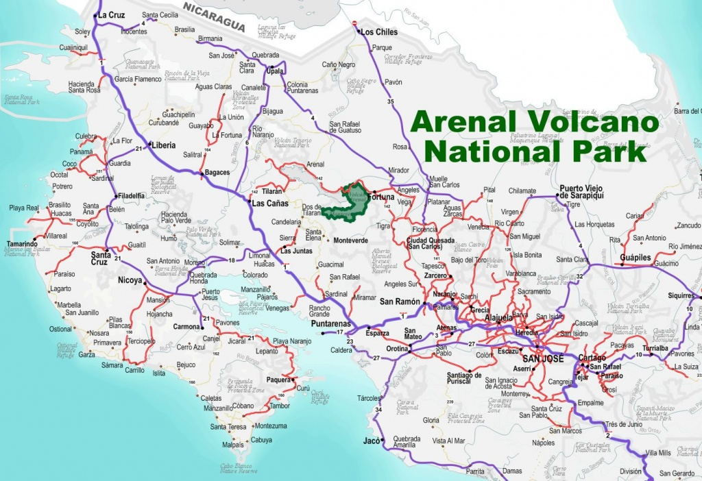 A Road To Arenal Volcano National Park In Costa Rica | Free - Free Printable Map Of Costa Rica