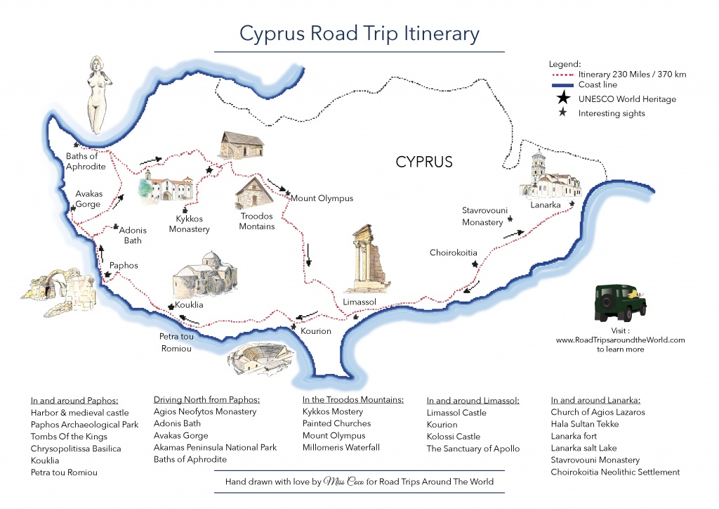 A Road Trip In Cyprus - Free Printable Map - Road Trips Around The World - Road Trip Map Printable