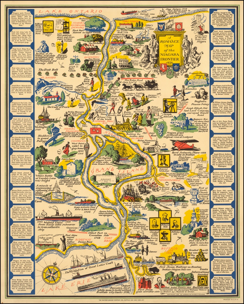 A Romance Map Of The Niagara Frontier - Barry Lawrence Ruderman - Printable Map Of Niagara On The Lake