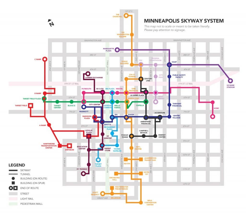 A Skyway Map For Minneapolis Inspiredthe Work Of Massimo - Minneapolis Skyway Map Printable