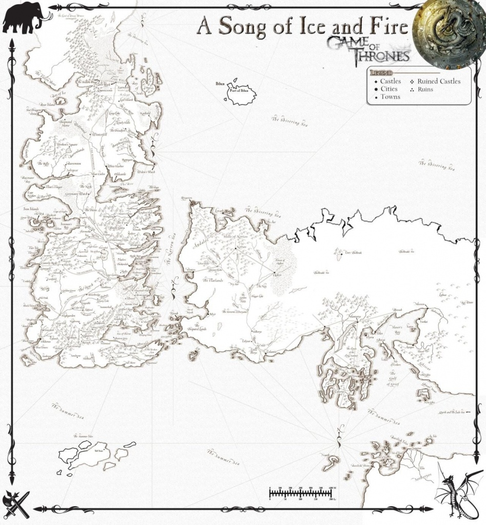 A Song Of Fire & Ice - The Fictional Continents Of Westeros & Essos - Printable Map Of Westeros