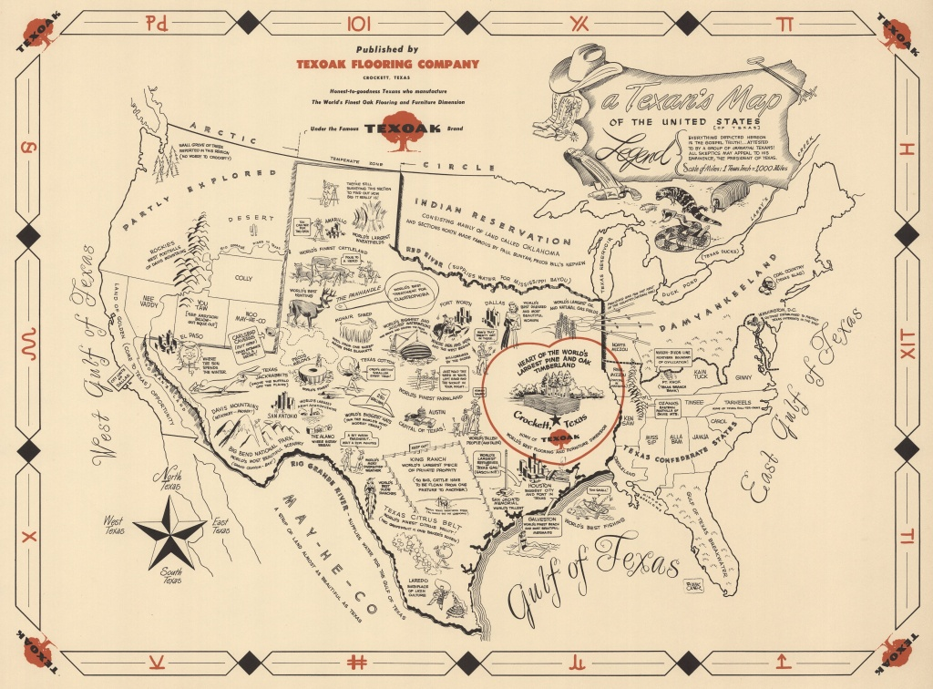 A Texan's Map Of The United States'. 1950's Parody Map Put Out - Crockett Texas Map