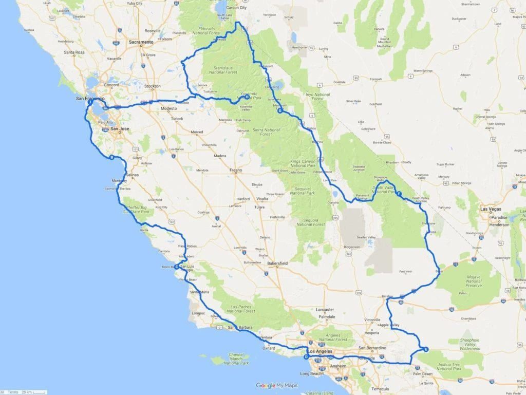 A Two Week California Road Trip Itinerary - Finding The Universe - California Vacation Planning Map