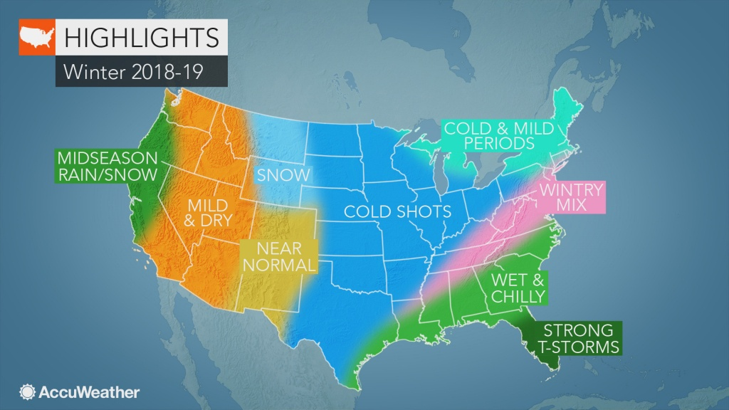 Accuweather's Us Winter Forecast For 2018-2019 Season - Florida Weather Map Temperature