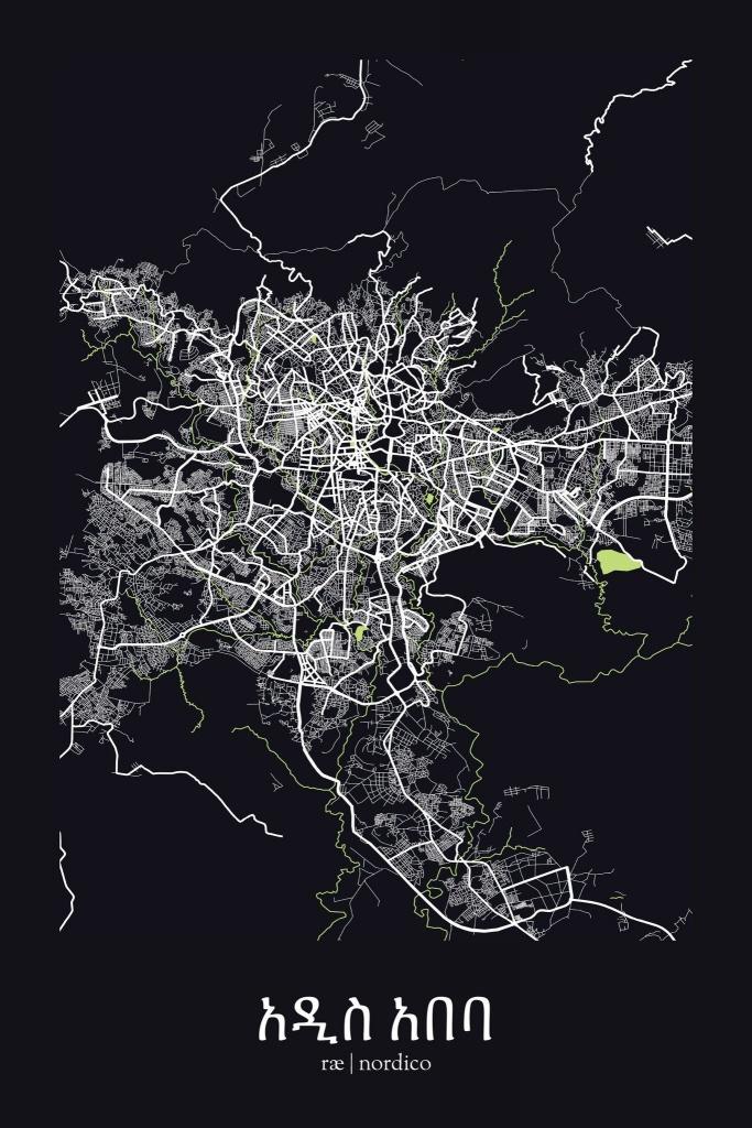 Addis Ababa, Ethiopia Map Print   Art - Printable Map Of Ethiopia