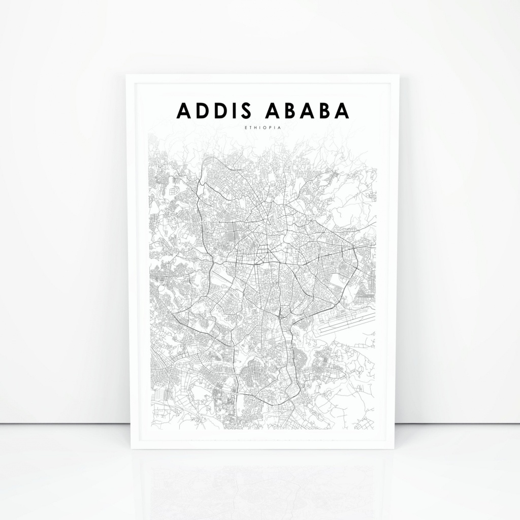Addis Ababa Map Print Ethiopia Map Art Poster Abäba Abeba   Etsy - Printable Map Of Ethiopia