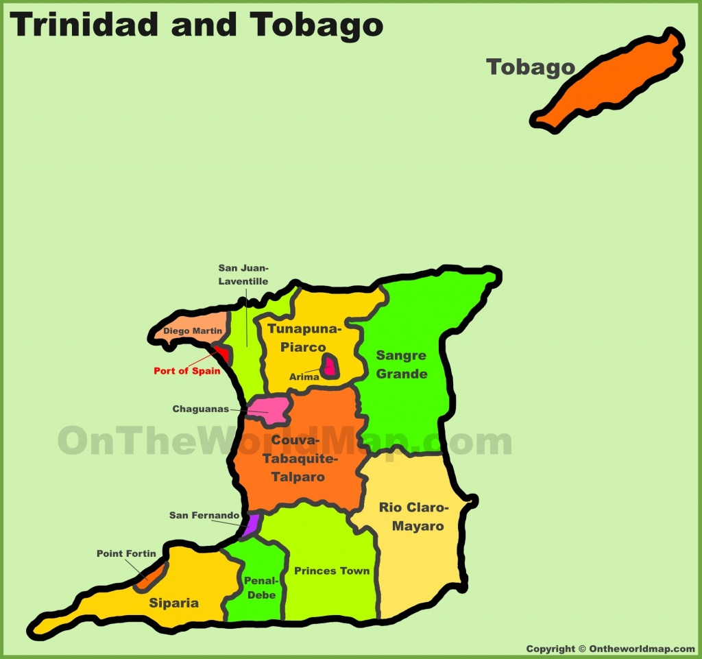 Administrative Divisions Map Of Trinidad And Tobago - Printable Map Of Trinidad And Tobago