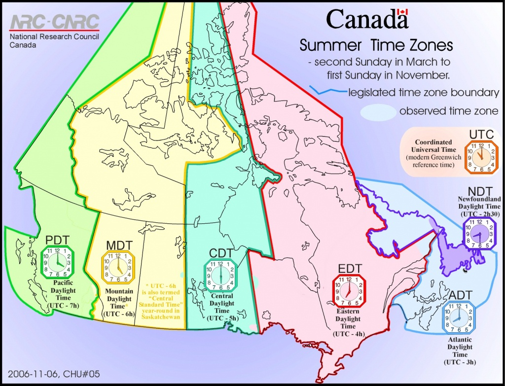 Adt Time | Sitedesignco - Canada Time Zone Map Printable