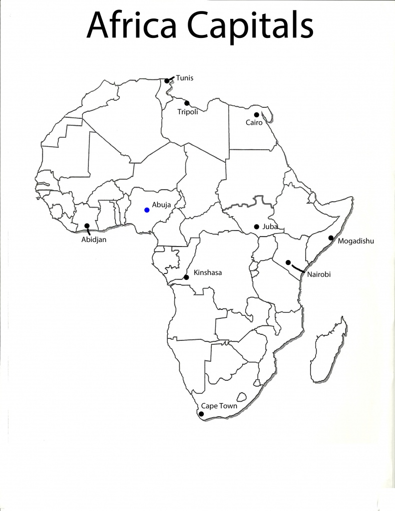 Africa Map With Capitals Black And White | Campinglifestyle - Printable Map Of Africa With Capitals