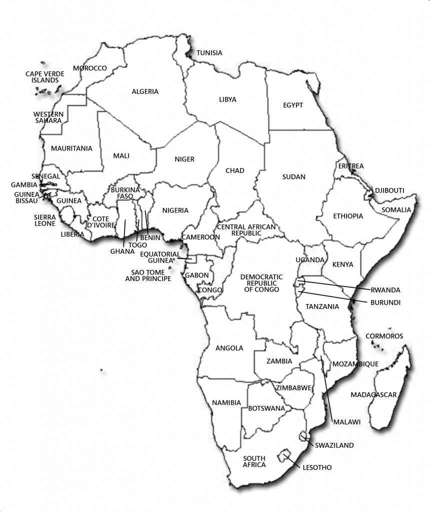 Africa Map With Capitals Black And White | Campinglifestyle - Printable Map Of Africa With Countries And Capitals
